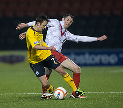Falkirk's Thomas Grant  and Arbroath's Alex Kebbie...half time : Airdrie United 1 v 4 Falkirk, 22/12/2012..©Michael Schofield.