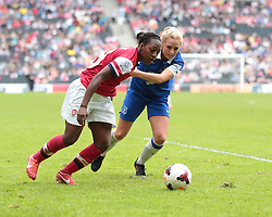 Arsenal Ladies forward Danielle Carter (9) and Everton Ladies defender Alex Greenwood (3) vie for the ball  - Photo mandatory by-line: Nigel Pitts-Drake/JMP - Tel: Mobile: 07966 386802 01/06/2014 - SPORT - FOOTBALL - LADIES - Stadium mk - Milton Keynes - Arsenal Ladies v Everton Ladies - The FA Women's Cup Final