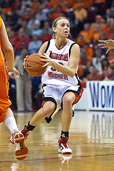 28 March 2010: Maggie Krick looks for room to run the lane. The Redbirds of Illinois State squeak past the Illini of Illinois 53-51 in the 4th round of the 2010 Women's National Invitational Tournament (WNIT) on Doug Collins Court inside Redbird Arena at Normal Illinois.