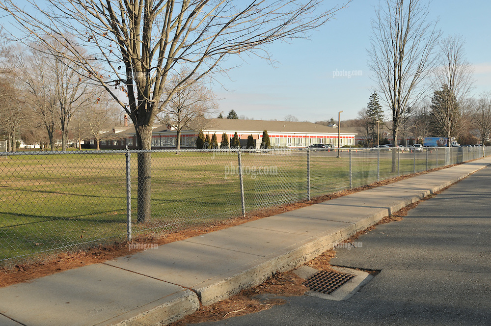 Hanover Elementary School - Kindergarten Addition.James R Anderson Photographer | photog.com 203-281-0717.Andrade Architects, LLC. Enfield Builders, Inc..Photography Date: 14 December 2011.Camera View: Northeast, north sidewalk of May St foreground, east end of playing field..Image Number 05