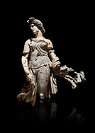 Roman statue of a Dancing Woman . Marble. Perge. 2nd century AD. Inv no 10.29.81 . Antalya Archaeology Museum; Turkey. Against a black background. .<br /> <br /> If you prefer to buy from our ALAMY STOCK LIBRARY page at https://www.alamy.com/portfolio/paul-williams-funkystock/greco-roman-sculptures.html . Type -    Antalya     - into LOWER SEARCH WITHIN GALLERY box - Refine search by adding a subject, place, background colour, museum etc.<br /> <br /> Visit our ROMAN WORLD PHOTO COLLECTIONS for more photos to download or buy as wall art prints https://funkystock.photoshelter.com/gallery-collection/The-Romans-Art-Artefacts-Antiquities-Historic-Sites-Pictures-Images/C0000r2uLJJo9_s0