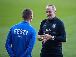 CARDIFF, WALES - Tuesday, September 7, 2021: Estonia's Thomas Häberli (R) chats with Rasmus Peetson (L) during a training session at the Cardiff City Stadium ahead of the FIFA World Cup Qatar 2022 Qualifying Group E match between Wales and Estonia. (Pic by David Rawcliffe/Propaganda)