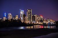 Downtown Calgary & Bow River @ Night