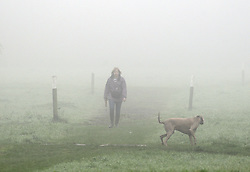 © Licensed to London News Pictures. 22/10/2012. Dog walkers enjoy a morning walk around misty picturesques meadows..Early morning mist this morning (22.10.2012) at Footscray Meadows in Footscray, Sidcup, Kent and south East London borders.Photo credit : Grant Falvey/LNP