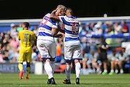 Tjarron Chery of QPR celebrates scoring his sides 2nd goal with Sebastian Polter of QPR to make it 2-0. Skybet EFL championship match, Queens Park Rangers v Leeds United at Loftus Road Stadium in London on Sunday 7th August 2016.<br /> pic by John Patrick Fletcher, Andrew Orchard sports photography.