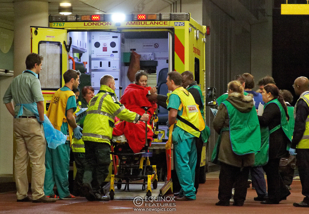London, United Kingdom - 19 December 2013<br /> Casualties from the balcony collapse at the Apollo Theatre London arriving at University College London Hospital, London, England, UK.<br /> Contact: Equinox News Pictures Ltd. +448700780000 - Copyright: ©2013 Equinox Licensing Ltd. - www.newspics.com<br /> Date Taken: 20131219 - Time Taken: 230102+0000