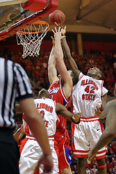 24 March 2008: Dinma Odiakosa tips a rebound his way and away from Kurt Huelsman. The Flyers of Dayton defeated the Redbirds of Illinois State 55-48 on Doug Collins Court inside Redbird Arena in Normal Illinois.