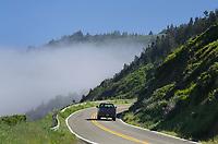 California Highway 1 winding its way along cliffs of Mendocino Coast