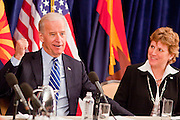 16 NOVEMBER 2009 -- PHOENIX, AZ:  VP Joe Biden (CQ) LEFT, talks with Jane Morris (CQ) Assistant Aviation Director, Phoenix Sky Harbor International Airport, about the taxi way improvement project, which was funded with stimulus monies. Vice President Joe Biden was at Sky Harbor International Airport Monday morning to participate in a round table discussion the Obama administration's economic stimulus program.    Arizona Republic Photo by Jack Kurtz