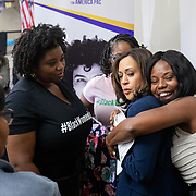 COLUMBIA, SC - NOVEMBER 23: Melissa Watson, KHFTP SC co-chair, surprises Senator Kamala Harris with a hug after the Higher Heights Black Women's Town Hall at Benedict College in Columbia, SC on Friday, November 23, 2019. (Photo by Logan Cyrus/The New York Times)