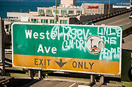 2018 FEBRUARY 12 - Vandalized sign on Alaskan Way Viaduct on a sunny day in Seattle, WA, USA. By Richard Walker