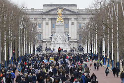 © Licensed to London News Pictures. 20/03/2021. London, UK. Demonstrators march along The Mall towards Buckingham Palace during an anti-lockdown protest in central London. Protestors from various groups are taking place today in London. Photo credit: Peter Macdiarmid/LNP