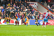 Adam Hammill of Scunthorpe United (47) shoots from a free kick during the EFL Sky Bet League 1 match between Scunthorpe United and Bradford City at Glanford Park, Scunthorpe, England on 27 April 2019.