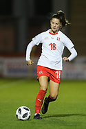 Viola Calligaris (#18) of Switzerland on the ball during the 2019 FIFA Women's World Cup UEFA Qualifier match between Scotland Women and Switzerland at the Simple Digital Arena, St Mirren, Scotland on 30 August 2018.