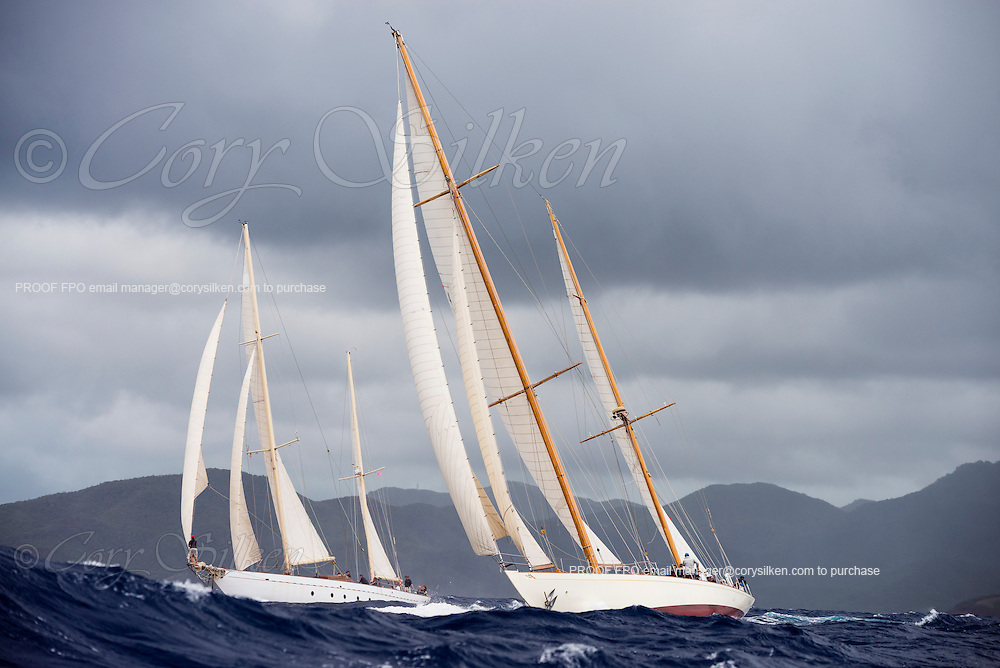 Sumurun and Sincerity sailing in the Antigua Classic Yacht Regatta, Butterfly Race.