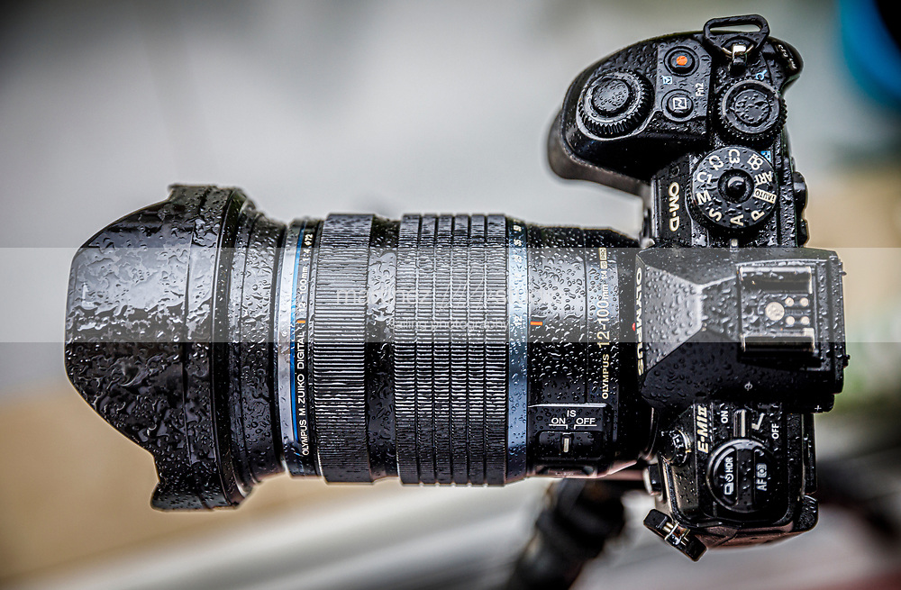 Olympus camera<br /> full of raindrops from the rain