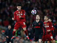 Alex Oxlade-Chamberlain of Liverpool heads clear during the UEFA Champions League match at Anfield, Liverpool. Picture date: 11th March 2020. Picture credit should read: Darren Staples/Sportimage