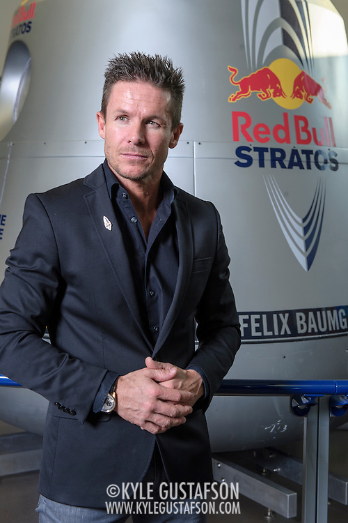 Felix Baumgartner  poses for a portrait at The Smithsonian National Air and Space Museum in Washington, D.C., USA on 1 April, 2014.