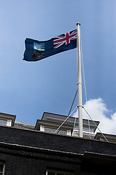 © Licensed to London News Pictures. 14/06/2012. LONDON, UK. On the 30th anniversary of the Argentinian surrender that marked the end of the Falklands War, the Falklands Islands flag is seen flying from the roof of number 10 Downing Street in London today (14/06/12). Photo credit: Matt Cetti-Roberts/LNP