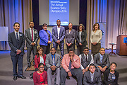 Purchase, NY – 31 October 2014. The third place team from Alexander Hamilton High School with judges behind them. The Business Skills Olympics was founded by the African American Men of Westchester, is sponsored and facilitated by Morgan Stanley, and is open to high school teams in Westchester County.