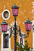 Ornate street lamp in Venice, Italy