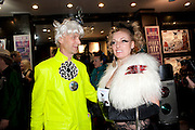 ANDREW LOGAN; ANNELISA BLAKE,  Premiere of 'The British Guide to Showing Off' Jes Benstock's documantary on Andrew Logan's life and 12 Alternative Miss World's. Prince Charles cinema, Leicester Place. London and afterward's at Moonlighting, Greek St. London. 6 November 2011. <br /> <br />  , -DO NOT ARCHIVE-© Copyright Photograph by Dafydd Jones. 248 Clapham Rd. London SW9 0PZ. Tel 0207 820 0771. www.dafjones.com.