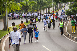 KIGALI, Dec. 1, 2019  People do exercise during the activities marking the World AIDS Day in Kigali, capital of Rwanda, on Dec. 1, 2019. Rwanda joined the rest of the world to mark the World AIDS Day with special car-free day activities in Kigali on Sunday. (Photo by Cyril Ndegeya/Xinhua) (Credit Image: © Cyril Ndegeya/Xinhua via ZUMA Wire)