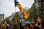 A human tower, a tipical Catalan tradition in Barcelona city center. The Diada in Barcelona, the 11th of September is the Catalan day and many manifestation have been held in the Catalan Capital, including many demontration asking independecy from Spain and liberation of separatis polititians incarcerated after helding an inllegal unilateral referendum last year. Barcelona, Spain. September 11th, 2018.