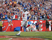 TAMPA, FLORIDA - SEPTEMBER 22: Quarterback Daniel Jones #8 of the New York Giants runs in for the game winning touchdown in the fourth quarter during the game against the Tampa Bay Buccaneers at Raymond James Stadium on September 22, 2019 in Tampa, Florida. (Photo by Mike Zarrilli/Getty Images)
