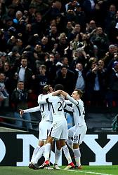 Son Heung-Min of Tottenham Hotspur celebrates with teammates after scoring a goal to make it 1-0 - Mandatory by-line: Robbie Stephenson/JMP - 07/03/2018 - FOOTBALL - Wembley Stadium - London, England - Tottenham Hotspur v Juventus - UEFA Champions League, Round of 16, second leg