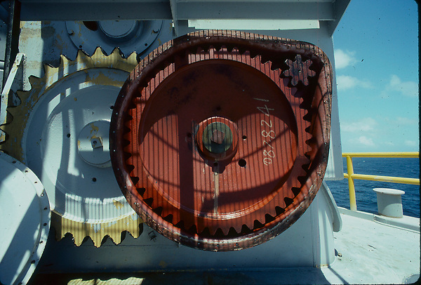 Stock photo of a gear used to elevate leg of jack-up offshore drilling rig
