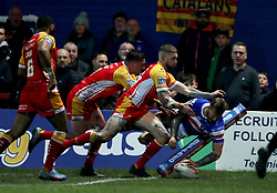 Wakefield Trinity's Tom Johnstone scores during the Betfred Super League match at Belle Vue, Wakefield.