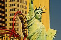 Manhattan Express rollercoaster and the New York New York Las Vegas hotel, The Strip, Las Vegas, Nevada USA