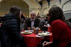 Pictured: Jeremy Corbyn meets volunteers.<br /> <br /> Labour leader Jeremy Corbyn travelled to Scotland to attend a festive lunch for homeless charities and volunteers in Edinburgh on Sunday, along with Scottish Labour leader Richard Leonard.<br /> <br /> © Dave Johnston / EEm