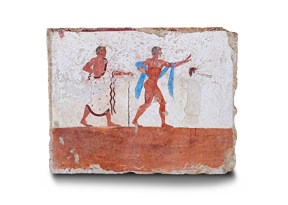 """Greek Fresco on the inside of Tomb of  the Diver  [La Tomba del Truffatore]. The dead man is depicted listenening to the flute of Eros which causes him to be distracted from the real world so being able to enter the next The tomb is painted with the true fresco technique and its importance lies in being """"the only example of Greek painting with figured scenes dating from the Orientalizing, Archaic, or Classical periods to survive in its entirety .Paestrum, Andriuolo.  (480-470 BC  ) .<br /> <br /> If you prefer to buy from our ALAMY PHOTO LIBRARY  Collection visit : https://www.alamy.com/portfolio/paul-williams-funkystock - Scroll down and type - Paestum Fresco - into LOWER search box. {TIP - Refine search by adding a background colour as well}.<br /> <br /> Visit our ANCIENT GREEKS PHOTO COLLECTIONS for more photos to download or buy as wall art prints https://funkystock.photoshelter.com/gallery-collection/Ancient-Greeks-Art-Artefacts-Antiquities-Historic-Sites/C00004CnMmq_Xllw"""