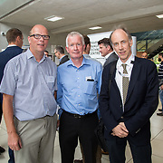 31.08. 2017.                                   <br /> Leaders in the pharmaceutical manufacturing sector in Ireland gathered at University of Limerick today for the third annual Pharmaceutical Manufacturing Technology Centre (PMTC) Knowledge Day.<br /> <br /> Pictured at the event were, Mark Southern, UL, Padraig McPhilips, DPTC and Bob Flynn, Enterprise Ireland.<br /> <br /> The event provided a showcase for the cutting-edge research supported by the centre with key note addresses from industry thought leaders who shared their vision of the future for the pharmaceutical sector. Picture: Alan Place