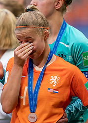 07-07-2019 FRA: Final USA - Netherlands, Lyon<br /> FIFA Women's World Cup France final match between United States of America and Netherlands at Parc Olympique Lyonnais. USA won 2-0 / Jackie Groenen #14 of the Netherlands, Sari van Veenendaal #1 of the Netherlands
