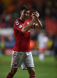 Charlton Athletic's player coach Johnnie Jackson applauds the home fans at full time