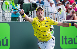 March 26, 2018 - Miami, Florida, United States - Sam Querrey, from the USA, in action against Denis Shapovalov, from Canada, during his third round match at the Miami Open in Key Biscayne. Shapovalov defeated Murrey 6-4, 3-6, 7-5 in Key Biscayne, on March 26, 2018. (Credit Image: © Manuel Mazzanti/NurPhoto via ZUMA Press)