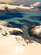 Aerial view of Lago Argentino and the Patagonian Icefield, taken from a commercial airplane over the Argentinian Andes.