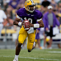18 April 2009: LSU quarterback Russell Shepard (10) runs with the ball during the 2009 LSU spring football game at Tiger Stadium in Baton Rouge, LA.