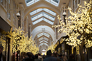 Christmas decorations and lights in Burlington Arcade in Mayfair in London, England, United Kingdom.