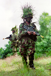 Troops of the East and West Riding Regiment (E&WRR) British Territorial Army,  Patrol through a training area during a training exercise  near Arlon in the Ardennes Belgium. July 2002