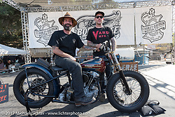 Jeff Leighton on stage with Max Schaaf after Max won the Born Free 1942 Knucklehead give-away bike that Jeff built for the Born Free 9 Motorcycle Show at Oak Creek Park. Silverado, CA. USA. Sunday June 25, 2017. Photography ©2017 Michael Lichter.