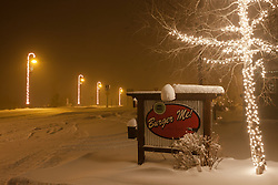 """""""Downtown Truckee 12"""" - Photograph of a snow covered burger sign and Christmas lights in Downtown Truckee, California. Photographed in the early morning."""