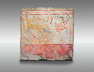 Lucanian fresco tomb painting of a man hunting a deer . Paestrum, Andriuolo. Tomb n. 18.  ( 370-360 BC ) .<br /> <br /> If you prefer to buy from our ALAMY PHOTO LIBRARY  Collection visit : https://www.alamy.com/portfolio/paul-williams-funkystock - Scroll down and type - Paestum Fresco - into LOWER search box. {TIP - Refine search by adding a background colour as well}.<br /> <br /> Visit our ANCIENT GREEKS PHOTO COLLECTIONS for more photos to download or buy as wall art prints https://funkystock.photoshelter.com/gallery-collection/Ancient-Greeks-Art-Artefacts-Antiquities-Historic-Sites/C00004CnMmq_Xllw