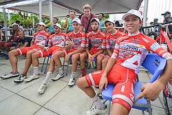 September 24, 2017 - Zhuhai, Guangdong, China - (Left-Right) Marco Benfatto, Matteo Malucelli, Matteo Spreafico, Raffaello Bonusi, Luca Pacioni and Kevin Rivera Serran (all Androni Sidermec Bottecchia team) with their Team Manager, Giampaolo Cheula, celebrate with their team-mate Kevin Rivera Serran the team and individual win in the 2017 Tour of China 2. .On Sunday, 24 September 2017, in Hengqin district, Zhuhai City, Guangdong Province, China. (Credit Image: © Artur Widak/NurPhoto via ZUMA Press)