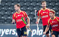 LONDON -  Unibet Eurohockey Championships 2015 in  London. 05 Spain v Russia. Spanish Pau Quemada (l) scored and celebrates with .  WSP Copyright  KOEN SUYK