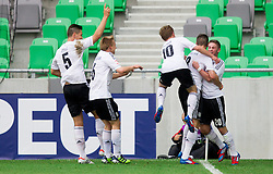 Players of Germany celebrate during the UEFA European Under-17 Championship Semifinal match between Germany and Poland on May 13, 2012 in SRC Stozice, Ljubljana, Slovenia. (Photo by Vid Ponikvar / Sportida.com)