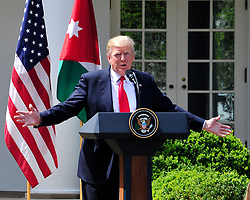 United States President Donald J. Trump and King Abdullah II of conduct a joint press conference in the Rose Garden of the White House in Washington, DC on Wednesday, April 5, 2017.<br /> Credit: Ron Sachs / CNP *** Please Use Credit from Credit Field ***